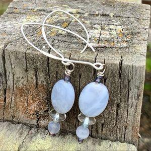 Blue Lace Agate Long Earrings